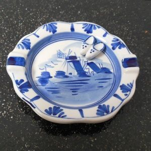 Hand Painted Delft Blue Porcelain Windmill Ashtray